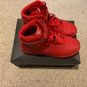 All Red Nike ID Air one's high tops